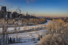 Bow River (Jacques P Raymond) Tags: bowriver river frozen winter snow calgary alberta canada morning bluesky frost trees