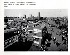 Liverpool Transport buses at the Napier Factory, Kirkby, c1960 (mikeyashworth) Tags: mikeashworthcollection cityofliverpoolhandbook c1961 napierworks kirkby liverpool rushhour workers buses cars arterialroad eastlancashireroad industrialestate streetfurniture liverpoolcitytransport liverpoolbuses aec aecregent a596 a786 doubledeckbuses hkp872 commuting hometime walking cycling