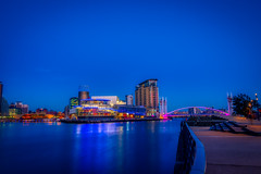 Blue Hours At The Quays (Kev Walker ¦ 9 Million Views..Thank You) Tags: architecture city england manchester mediacity river salfordquays ship sky water blue bridge britain british broadcasting buildings canal cityscape commercial contemporary design dock dusk europe exterior footbridge great high kingdom landmark lowry media metropolitan modern night north quay quays quayside radio reflection salford shipcanal skyline studios travel tv twilight uk urban