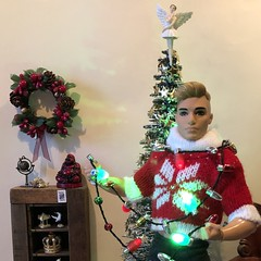 All in a Knot (MaxxieJames) Tags: bastian hunter doll mattel barbie ken christmas lights tree dolls diorama fashionista decorations collector