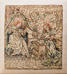 The Annunciation, Netherlandish, mid-15th century, Silk and metal thread on linen 2/14/19 #metcloisters #artmuseum #embroidery #medievalart (Sharon Mollerus) Tags: themetcloisters newyork cfptig19