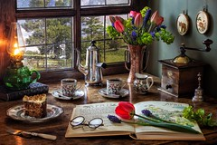 Welcoming in the Spring (memoryweaver) Tags: stilllife memoryweaver coffeepot pot cups porcelain light lamp kerosene paraffin oillamp grinder coffee green ukspring windowview tabletop uk spring