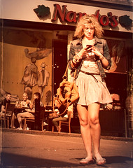 Mobile yesteryear (pickup2sticks 12 million views.) Tags: derby girl woman blonde mobile phone bag denim flipflops pretty bright ambient shadow dcpc nikon gjkerr street candid city