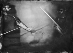Double Exposure Experiment (Blurmageddon) Tags: largeformat alumitype tintype wetplatecollodion epsonv700 johncofferdeveloper alternativeprocess speedotron4800 5x7 portrait doubleexposure sword fencing underexposed
