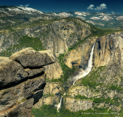 Yosemite Falls From Glacier Point (HarrySchue) Tags: nationalparks yosemite yosemitevalley yosemitefalls yosemitenationalpark waterfalls nature cliffs mountains snowcappedpeaks trees landscape rocks hiking clouds