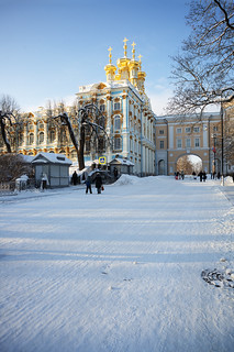 Winter road to the Catherine Palace.
