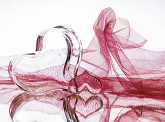 Hearts & Tulle (Karen_Chappell) Tags: heart glass lace tulle pink white stilllife holiday valentine valentinesday reflection pastel product
