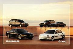 1995 Chrysler-Jeep Vehicles (Netherlands) (aldenjewell) Tags: 1995 chrysler voyager vision neon viper jeep grand cherokee netherlands postcard
