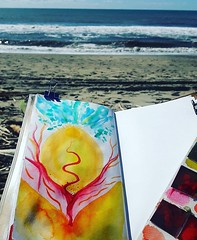 Keeping up with my menstrual cycle awareness practice while chilling on the beach ☀️☀️☀️ #menstrualcycleawarness #wildpower #wombmagic #arttherapy #paintingismyspiritualpractice #artistinspiration #periodpower #inneroracle #muse #lifeisart (SineadHollyPainting) Tags: travel art artist inspiration learning traveling cameraphone new