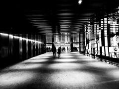 Place Des Arts Corridor (Montreal) (MassiveKontent) Tags: placedesarts corridor silhouette shadows contrast noiretblanc blackwhite blancoynegro montreal bw city monochrome urban blackandwhite montréal quebec bwphotography android absoluteblackandwhite mono night nightshot cityatnight