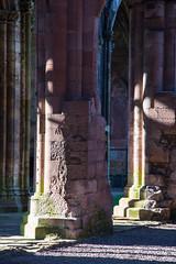 _DSC1394.jpg (Hideous Elf) Tags: abbey chruch detail grave lights melrose melroseabbey shadow stone