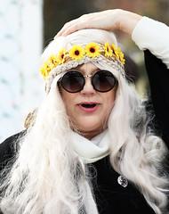 Adjusting Her Wig (wyojones) Tags: montana whitefish feburary wintercarnival woodstockwhitefish 60s 1969 vintage glasses woman girl chick dude hair wig blonde longhair costume headband flowers daisies