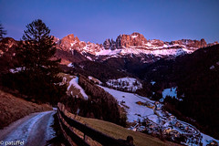 Rosengarten during the Blue Hour with Tiers (patuffel) Tags: rosengarten blue hour tiers süd tirol tyrol leica m10 sunset massif group mountain rock weiher snow winter adige alto italy italia panorama alpenglühen schlernrosengarten unesco worldheritage alpen alps