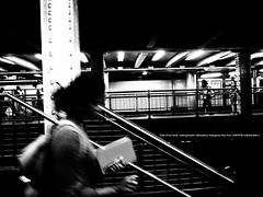 A few people in the station. (mitsushiro-nakagawa) Tags: newyorkcity manahattan usa bw lumix g3