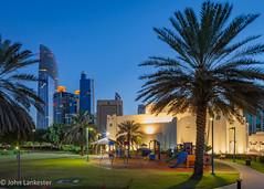 Family Park Mosque, Abu Dhabi (Jhopne) Tags: datepalm landmarktower abudhabi city feb19 mosque palm playground uae bluehour citylights canonef2470mmf28lusm sky park canoneos5dmarkii buildings cityscape