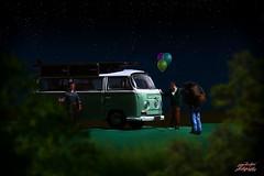 Small folk Secret Party (psychosteve-2) Tags: vw van macro party people preiser figures balloons photoshop night