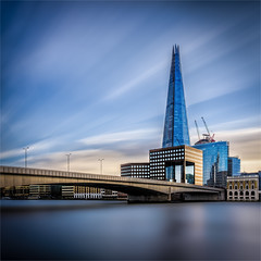 Shard in Blue (Paul Parkinson LRPS CPAGB (parkylondon)) Tags: 2018 december england europe gfx50s greaterlondon london unitedkingdom longexposure fuji lemag riverthames thames shard colour