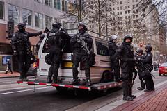 Paramilitary Police Patrol - Portland Oregon (coljacksg) Tags: stormtroupers stormtrooper portland police swat unit van patrol riot gear paramilitary