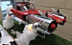 Jaguar E Type Flying Jet car. (ManOfYorkshire) Tags: jaguar etype car shell converted detailed modified fly flying jet future scifi diorama worksop model road transport show exhibition 2018 stewartallison sciencefiction imagination