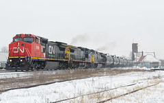 385, The Train That Doesn't Seem to Disappoint (Joseph Bishop) Tags: cn 2196 ge c408w brantford cndundassubdivision railfan trains train track tracks railroad railway rail rails snow leasers