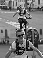 [La Mia Città][Pedala] sorridente con Ofo (Urca) Tags: milano italia 2018 bicicletta pedalare ciclista ritrattostradale portrait dittico bike bicycle nikondigitale scéta biancoenero blackandwhite bn bw 118330 ofo bikesharing sorridente