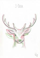 3-Deer. (Klaas van den Burg) Tags: pencil humor 3dimensional deer 3deers