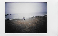 Day 076 (H o l l y.) Tags: lomography instax mini instant film analog ocean sea beach water girl self portrait sitting alone field landscape nature color sky retro indie vintage last day cali we drove 1 up coast it was beautiful stopped for driftwood light house where walked along i ended night bar hopping with mark playing pool this an amazing distraction good vacation