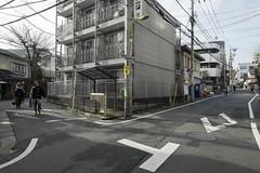 Tokyo.世田谷区池尻 大山街道 (iwagami.t) Tags: iwagamitetsuo 201902 fujifilm fuji xt1 xf14mm japan tokyo city town urban street alley apartment people