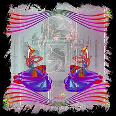 Dancing on lines. (SØS: Thank you for all faves + visits) Tags: bright colorful colors dancers digitalart digitalartwork art kunstnerisk manipulation solveigøsterøschrøder artistic face fantasy girls portrait 100views