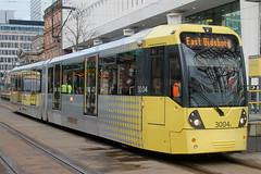 Manchester Metrolink: 3004 St Peter's Square (emdjt42) Tags: tram manchestermetrolink manchester 3004 bombardier flexityswift
