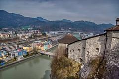 View of Kufstein and river Inn from the Fortress, Tyrol, Austria (UweBKK (α 77 on )) Tags: österreich view river stream inn fortress city urban aerial mountain kufstein tyrol tirol austria europe europa sony alpha 77 slt dslr