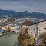 View of Kufstein and river Inn from the Fortress, Tyrol, Austria thumbnail