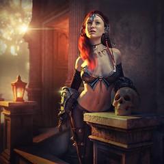 Skull (Mark Frost :)) Tags: rpg dungeon fantasy armour amor girl female woman warrior skeleton light dark skull sword 3d render c cgi daz studio iray