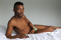 J.R. # 13 (just.Luc) Tags: man male homme hombre uomo mann portret portrait ritratto retrato porträt barechested shirtless torsenu handsome attractive young jung jong jeune afrikaan africain afrikaner african reclined bed lit