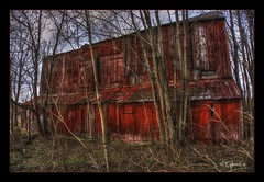 Surrounded (* Gemini-6 *) Tags: hdr barn red sky trees building architecture wideangle framed