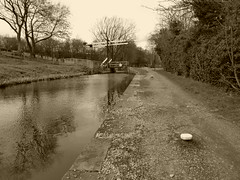 Towpath and mooring posts nr  bridge 22, Strines. (Peak Forest Canal)   February 2019 (dave_attrill) Tags: mooringposts bridge marple liftbridge strines peakforest canal towpath peakdistrict nationalpark derbyshire cheshire february 2019 sepia cheshirering