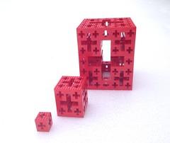 LEGO Menger Crosses (side) (marathontomay) Tags: lego fractal mengercross jerusalemcube math selfsimilar iteration