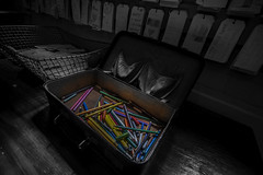 Crayond (Mr Clicker / Davin) Tags: mrclicker davin suitcase coloured pencils selective colourpop colours blackandwhite sydney quarantinestation