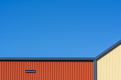 Geometry with orange and yellow (Jan van der Wolf) Tags: map1888v geometric gevel gebouw facade geometry geometrisch geometrie lines lijnen lijnenspel interplayoflines playoflines