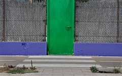 composition - 51 (Rino Alessandrini) Tags: architecture wallbuildingfeature door entrance outdoors buildingexterior old builtstructure nopeople street backgrounds closed blue urbanscene gate concrete pattern facade brick
