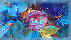 Nature is not only all that is visible to the eye... it also includes the inner pictures of the soul. (Edvard Munch) (boeckli) Tags: flowers flower flora fleur ddg deepdreamgenerator blumen blume blüten blossom bloom blossoms blooms blue blau bunt farbig farbenfroh colourful colorful colours colors colour photoborder textures texturen texture textur camellia