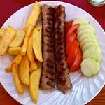 Kebapcheta with salad & French fries, Banevo, Bulgaria thumbnail