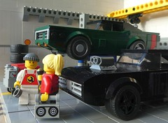 Mike gives an interview (captain_j03) Tags: toy spielzeug 365toyproject lego minifigure minifig moc car auto 6wide dodge charger joescars mikethemechanic