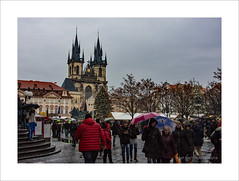 Market Square (prendergasttony) Tags: old town square prague nikon d7200 europe people anorak rain market christmas church tree tonyprendergast