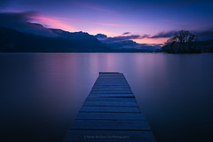 Quiet (ELX_Images) Tags: lines landscape elxphotography nature water outdoor lake recreation holiday light trees blue sky serenity pier longexposure france hiking bluehourselection colors bluehour morning annecy clouds mountain