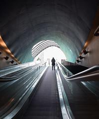 going up (=Mirjam=) Tags: nikond750 fietsenstalling eindhoven bicycleparking light tunnel escalator februari 2019