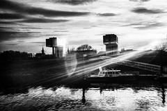3382 (Elke Kulhawy) Tags: blackandwhite cologne monochrome grain grainy bnw bw bwphotographie bnwbw unscharf dark kranhäuser köln city stadt wasser rhein centrum