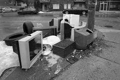 Tv cemetary (jlp771) Tags: sony a6000 montreal junk monochome television street