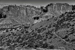 A Nature Trail Hiked and Some Amazing Views (Black & White, Capitol Reef National Park) (thor_mark ) Tags: azimuth92 blackwhite blueskies capitolreefnationalpark capturenx2edited centralutahplateaus chimneyrockloop chimneyrocktrail colorefexpro coloradoplateau day2 desertlandscape desertmountainlandscape desertplantlife desertwildflowers fishlakeplateau highdesert hikingtrail intermountainwest landscape layersofrock lookingeast monocline nature nikond800e outside portfolio project365 silverefexpro2 sunny trees utahhighdesert utahnationalparks2017 waterpocketfold waynewonderland ut unitedstates