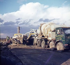 Building bridges on the A12 1970's Photo's by Alf Jefferies (Photos by Alf Jefferies) Tags: 1970s road bridge building a12 vintage lorries cement mixers people highway construction foden st ives sand gravel photos by alf jefferies mydadsoldphotos readymix